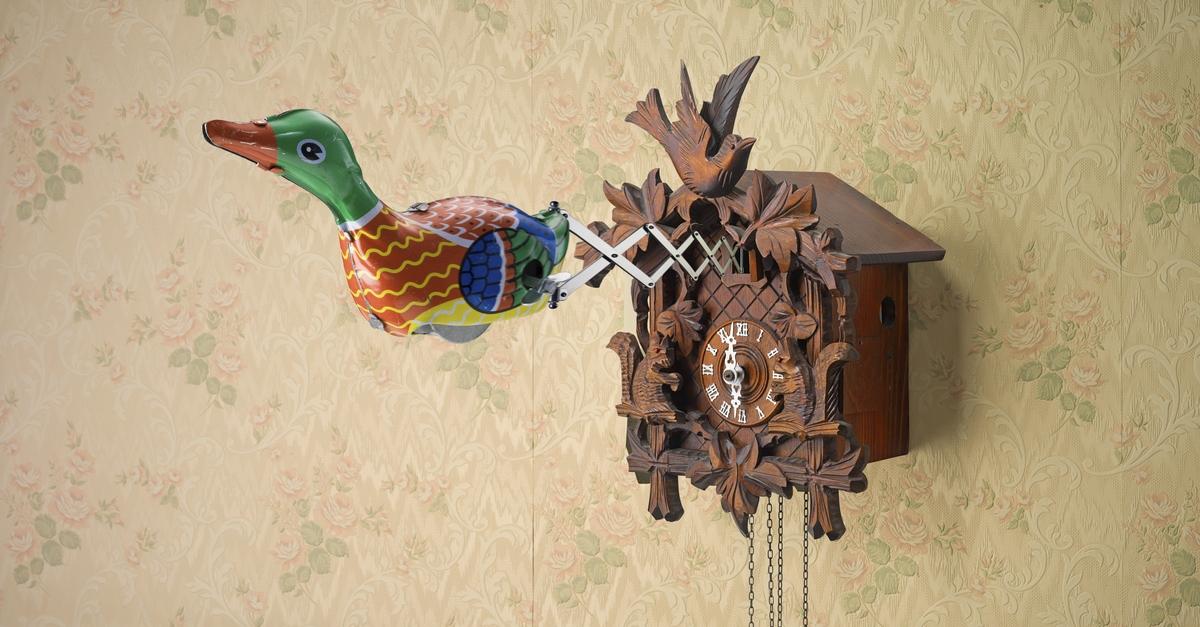 Kuckucksuhr, aus der eine Ente hervorspringt