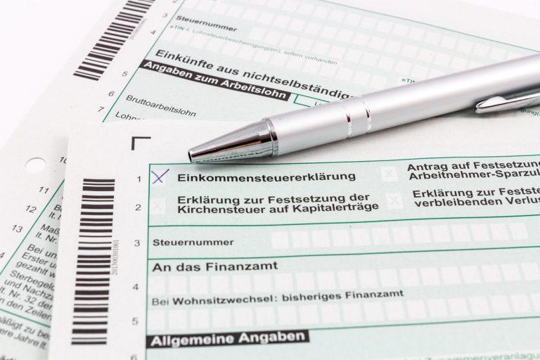 Formular für Steuererklärung
